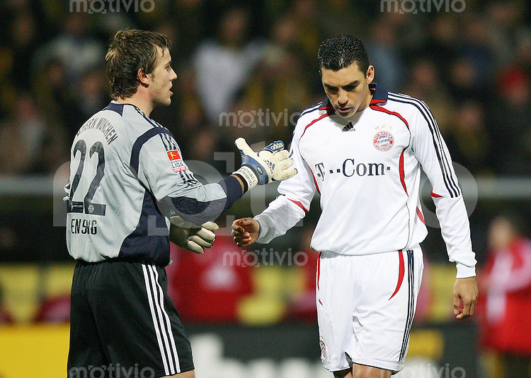 Fussball  DFB-Pokal  Saison 2006/2007  Achtelfinale Alemannia Aachen - FC Bayern Muenchen   Michael RENSING (li) und LUCIO (re, beide Bayern) enttaeuscht