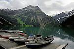 Rowing boats,Lake Visalpsee, Reutte district. Austria.