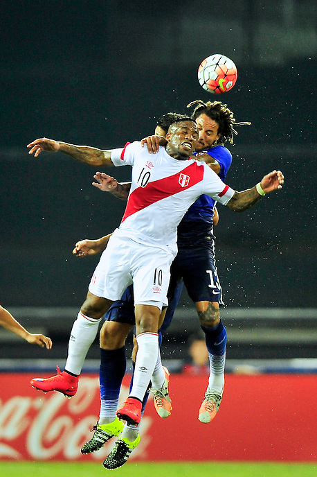 Jefferson Farfan of Peru goes up for a header against Jermaine Jones . USA defeated Peru 2-1 during a Friendly Match at the RFK Stadium in Washington, D.C. on Friday, September 4, 2015.  Alan P. Santos/DC Sports Box