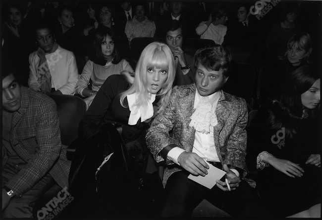 Sylvie Vartan and Johnny Hallyday at the James Brown premiere, Olympia music-hall, Paris, France, September 1967