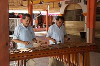 Marimba players in Mercado 28 souvenirs and handicrafts market in  Cancun, Mexico      .