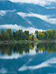 Idaho.  Bonners Ferry.  The beginning of fall along the Kootenai river