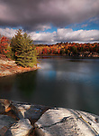 Beautiful autumn morning landscape nature scenery at lake George, Killarney provincial park, Ontario, Canada.
