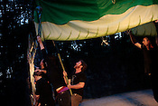 Members of Paperhand Puppet Intervention run through a dress rehearsal of The Serpent's Egg at Forest Theater on the campus of UNC-Chapel Hill, Mon., Aug. 1, 2011. Donovan Zimmerman, pictured, co-directs Paperhand with Jan Burger.