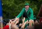 The Leprechaun takes the stage for the 2010 Dillon Pep Rally...Photo by Matt Cashore/University of Notre Dame