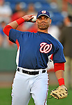 13 March 2008: Washington Nationals' outfielder Alex Escobar warms up prior to a Spring Training game against the Florida Marlins at Space Coast Stadium, in Viera, Florida. The Marlins defeated the Nationals 2-1 in the Grapefruit League matchup...Mandatory Photo Credit: Ed Wolfstein Photo