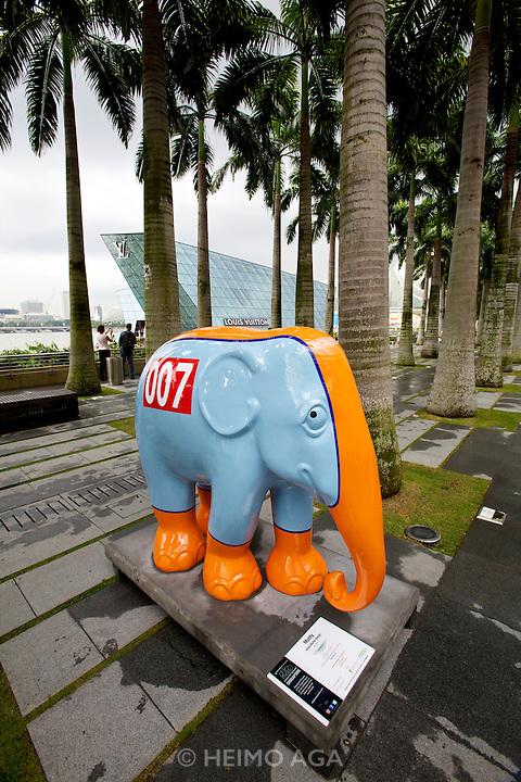 "Singapore. Marina Bay Sands. Elephant Parade: ""Monty"" (Aston Martin Design)."