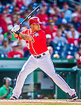 6 September 2014: Washington Nationals shortstop Ian Desmond in action against the Philadelphia Phillies at Nationals Park in Washington, DC. The Nationals fell to the Phillies 3-1 in the second game of their 3-game series. Mandatory Credit: Ed Wolfstein Photo *** RAW (NEF) Image File Available ***