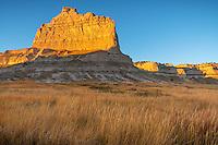 Scotts Bluff National Monument, Nebraska:<br /> Scotts Bluff rises above prairie grasses in evening light