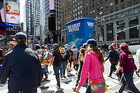 A thirty foot tall inflatable recycling bin part of the launch of The Great Recycle campaign seen in Times Square in New York on Monday, April 30, 2012. Items collected will be recycled into garden supplies. (© Frances M. Roberts)