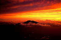 Aerial at sunrise with Mt Makiling, Philippines