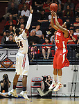 "Illinois State's Tyler Brown (1) makes a three pointer over Mississippi's Aaron Jones (34) in a National Invitational Tournament game at the C.M. ""Tad"" Smith Coliseum in Oxford, Miss. on Wednesday, March 14, 2012. (AP Photo/Oxford Eagle, Bruce Newman)"