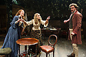 London, UK. 21.11.2013.  LIZZIE SIDDAL, a new play by Jeremy Green, opens at the Arcola Theatre. Picture shows: Emma West (Lizzie Siddal), Jayne Wisener (Annie Miller) and Tom Bateman (Dante Gabriel Rosetti). Photograph © Jane Hobson.