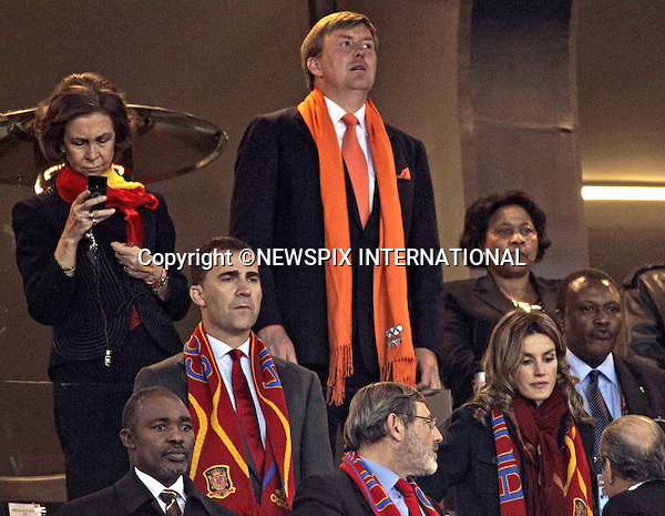"""QUEEN SOFIA, CROWN PRINCE WILLEM-ALEXANDER, CROWN PRINCE FELIPE AND CROWN PRINCESS LETIZIA .at the FIFA World Cup 2010 Final, Soccer City Johannesburg South Africa_11/07/2010  .Mandatory Credit Photos: ©Newspix International..**ALL FEES PAYABLE TO: """"NEWSPIX INTERNATIONAL""""**..PHOTO CREDIT MANDATORY!!: NEWSPIX INTERNATIONAL(Failure to credit will incur a surcharge of 100% of reproduction fees)..IMMEDIATE CONFIRMATION OF USAGE REQUIRED:.Newspix International, 31 Chinnery Hill, Bishop's Stortford, ENGLAND CM23 3PS.Tel:+441279 324672  ; Fax: +441279656877.Mobile:  0777568 1153.e-mail: info@newspixinternational.co.uk"""
