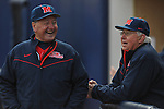 Former Rebel baseball greats Jake Gibbs (left) and Don Kessinger laugh between innings at Ole Miss baseball alumni game at Oxford-University Stadium in Oxford, Miss. on Saturday, February 5, 2011. Gibbs and Kessinger are Ole Miss' only 2-sport All-Americans.