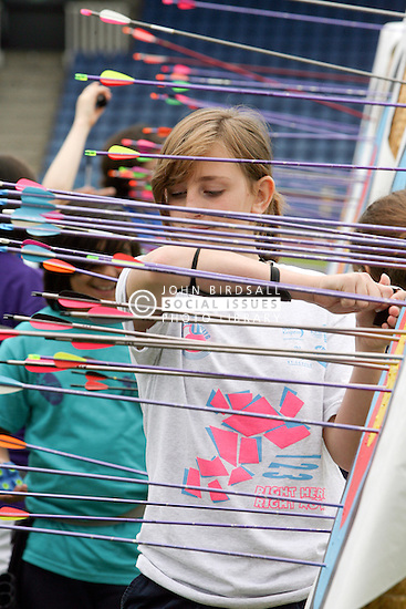 Crystal Palace sports centre, Aug 2011, Kids competing in an archery competition.