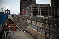 Brooklyn Bridge remains under maintenance one day before its 130th anniversary in New York,  May 23, 2013, Photo by Eduardo Munoz Alvarez / VIEWpress.