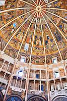 Romanesque frescoes inside the dome of the Romanesque Baptistery of Parma, circa 1196, (Battistero di Parma), Italy