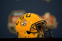 LSU helmet is pictured with BCS Championship backdrop during the LSU Defensive Press Conference at Marriott Hotel at the Convention Center on January 5th, 2011.