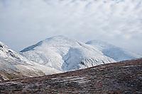 Tjåmuhas mountain peak with fresh autumn snow, Lapland, Sweden