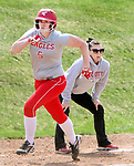 WOLCOTT CT. 15 April 2017-041517SV02-#5 Carrigan Costello of Wolcott High rounds 3rd while scoring against Naugatuck High in the 3rd inning  during NVL softball action in Wolcott Saturday.<br /> Steven Valenti Republican-American