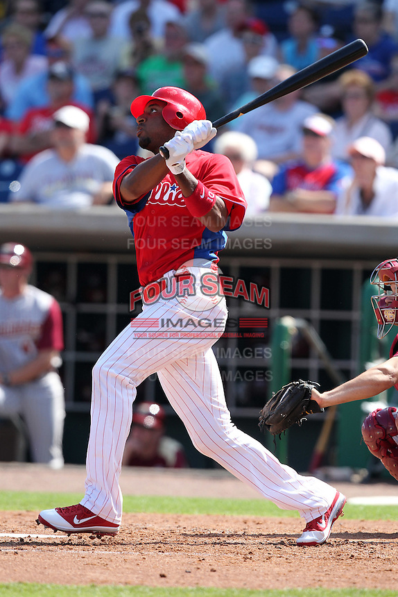Philadelphia Phillies Ben Francisco #10 during a scrimmage vs the Florida State Seminoles  at Bright House Field in Clearwater, Florida;  February 24, 2011.  Philadelphia defeated Florida State 8-0.  Photo By Mike Janes/Four Seam Images