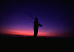As twilight fall, a sentry, stands guard on a casement wall after Civil War re-enactment for the the Battle of Fort Morgan, Mobile, Al in 2001. Jim Bryant Photo. @2001. All Rights Reserved.