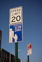 As part of the Vision Zero initiative speed limits were lowered to help avoid pedestrian/car accidents. A sign informing motorists of the new speed limits in Brooklyn in New York on Friday, February 20, 2015.  (© Richard B. Levine)