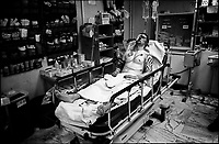 A wounded U.S. soldier is brought to the emergency room of 28th Combat Support hospital in Baghdad August 21, 2007. The 28th Combat Support Hospital, based in Baghdad's fortified Green zone, is one of the busiest military emergency rooms in the world.