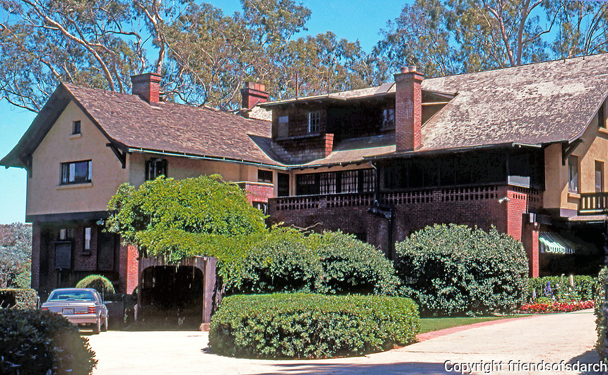 Irving Gill: George Marston House. 3525 7th Ave., San Diego. (N. elevation) Photo 2000.