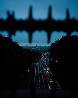 The view from what is commonly known as 'suicide bridge' in Archway, North London. 28 year old Hamid from Iran spent three years living on buses, in parks, in car parks, and on the streets of London, using heroin to self-medicate the after effects of being tortured in prison for over a year in his homeland. He made three suicide attempts, one from this bridge, before the police were called and he was admitted to hospital. Many refused asylum seekers experience PTSD (Post Traumatic Stress Disorder) and mental health problems resulting from their experiences in their home country and their treatment here in the UK. Hamid is one of an estimated 300,000 rejected asylum seekers living in the UK.