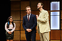 """""""CHINGLISH, by David Henry Hwang, opens at the Park Theatre. Directed by Andrew Keates, with lighting design by Christopher Nairne and set and costume design by Tim McQuillen-Wright. Picture shows: Siu-See Hung (Qian), Gyuri Sarossy (Daniel), Duncan Hart (Peter Timms)"""
