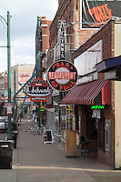 A view down Beale Street in Memphis, Tennessee