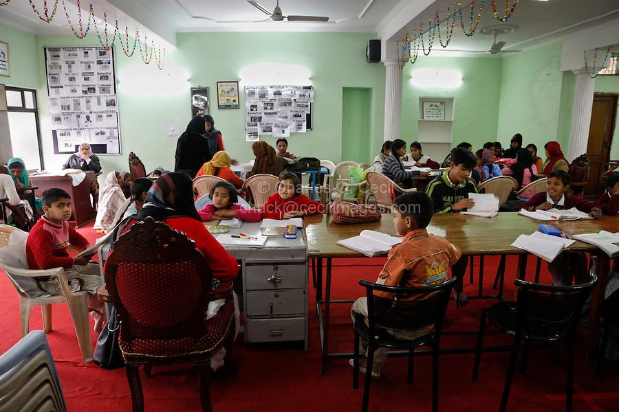 Dehradun, India.  Tasmia Academy, a Muslim charitable institution, offers remedial instruction for school children.
