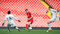 LIVERPOOL, ENGLAND - Easter Monday, April 1, 2013: Liverpool's captain Conor Coady in action against Tottenham Hotspur during the Under 21 FA Premier League match at Anfield. (Pic by David Rawcliffe/Propaganda)