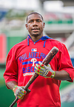 22 May 2015: Philadelphia Phillies first baseman Ryan Howard awaits his turn in the batting cage prior to a game against the Washington Nationals at Nationals Park in Washington, DC. The Nationals defeated the Phillies 2-1 in the first game of their 3-game weekend series. Mandatory Credit: Ed Wolfstein Photo *** RAW (NEF) Image File Available ***