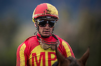ARCADIA, CA - FEBRUARY 04: Flavien Prat after winning the San Antonio Stakes at Santa Anita Park on February 4, 2017 in Arcadia, California. (Photo by Alex Evers/Eclipse Sportswire/Getty Images)