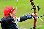 LONDON, ENGLAND 27/08/2012 - Line Tremblay of the Canadian Paralympic Archery Team at a training session at the London 2012 Paralympic Games at The Royal Artillery Barracks. (Photo: Phillip MacCallum/Canadian Paralympic Committee)