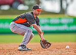 9 March 2013: Miami Marlins infielder Anthony Gomez warms up prior to a Spring Training game against the Washington Nationals at Space Coast Stadium in Viera, Florida. The Nationals edged out the Marlins 8-7 in Grapefruit League play. Mandatory Credit: Ed Wolfstein Photo *** RAW (NEF) Image File Available ***