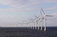 Giant wind turbines just outside the Copenhagen, Denmark harbour.