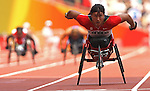 Chantal Petitclerc of Montreal leaves the field behind and sets a world record in heats of the women's 200 metres  at the Paralympic Games in Beijing, Sunday, Sept., 14, 2008.   Photo by Mike Ridewood/CPC