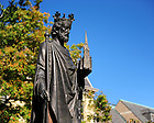 Statue of St. Edward outside St. Edward's Hall..Photo by Matt Cashore/University of Notre Dame