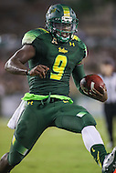 Tampa, FL - September 2, 2016: South Florida Bulls quarterback Quinton Flowers (9) celebrates after his touchdown during game between Towson and USF at the Raymond James Stadium in Tampa, FL. September 2, 2016.  (Photo by Elliott Brown/Media Images International)
