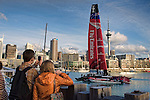 Emirates Team New Zealand return to the base after the fifth day of testing for the AC72 on the Hauraki Gulf, Auckland. 6/9/2012