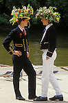 Eton 4 June Founders Day celebrations. Boys boat on river. Wearing traditional floral hats