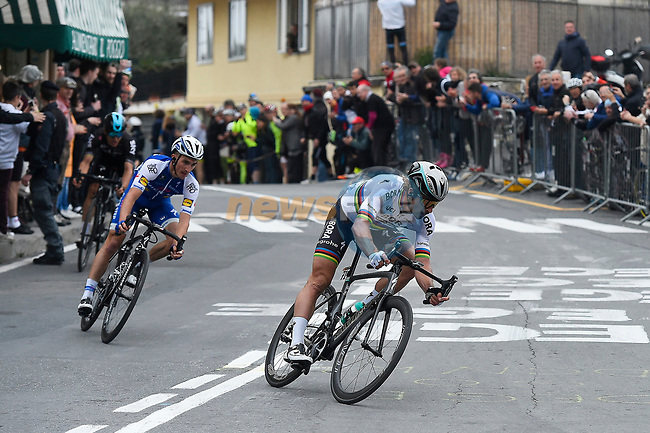 World Champion Peter Sagan (SVK) Bora-Hansgrohe leads Julian Alaphilippe (FRA) Quick-Step Floors at the summit of the Poggio di San Remo during the 108th edition of Milan-San Remo 2017 by NamedSport the first Classic Monument of the season running 291km from Milan to San Remo, Italy. 18th March 2017.<br /> Picture: La Presse/Fabio Ferrari | Cyclefile<br /> <br /> <br /> All photos usage must carry mandatory copyright credit (&copy; Cyclefile | La Presse)