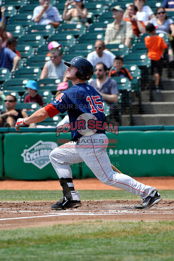Lowell Spinners outfielder Seth Schwindenhammer #15 hits the first of 2 homeruns during game against the Brooklyn Cyclones at MCU Park on July 18, 2011 in Brooklyn, NY.  Lowell defeated Brooklyn 11-5.  Tomasso DeRosa/Four Seam Images