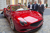 Press conference presenting the manually assembled Farralli & Mazzanti Vulca S luxury sports car to be produced in a limited series of ten pieces designed by Hungarian designer Zsolt Tarnok (right). Photographed with company founders Walter Faralli (left) and Luca Mazzanti (center). Budapest, Hungary. Tuesday, 22. June 2010. ATTILA VOLGYI
