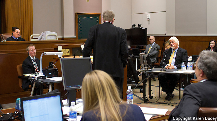 PAUL WATSON (right), Founder of the Sea Shepherd Conservation Society, is questioned by his lawyer Timothy G. Leyh in the United States Court of Appeals, Ninth Circuit in Seattle, Washington under Commissioner Peter L. Shaw (left) on November 6, 2013. Watson is accused by the Institute of Cetacean Research, Kyodo Senpaku Kaisha, Ltd., Tomoyuki Ogawa, Toshiyuki Miura and Hiroyuki Komura of interfering in their whale hunt in the Southern Ocean, potentially violating an injunction issued by the court last December 2012. (copyrightKaren Ducey/KarenDucey.com)