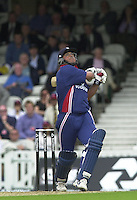 09/07/2002 - Tue.Sport - Cricket-  NatWest Series - Eng vs India Oval.England batting - Darren Gough 'Skies one' leds to his dismissal .